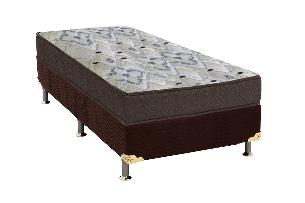 Conjunto Box - Colchão Ortobom Espuma D45 ISO 150 18cm Mega Firme + Cama Box Universal CRC Camurça Brown