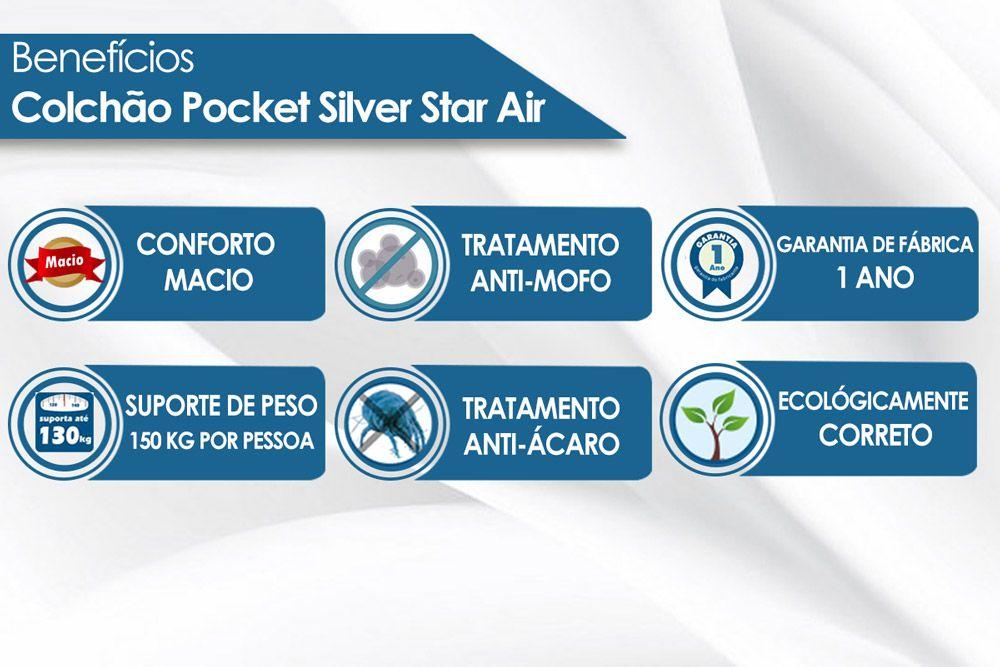 Conjunto Cama Box - Colchão Castor de Molas Pocket Silver Star Air One Face + Cama Box Universal Nobuck Bege Crema