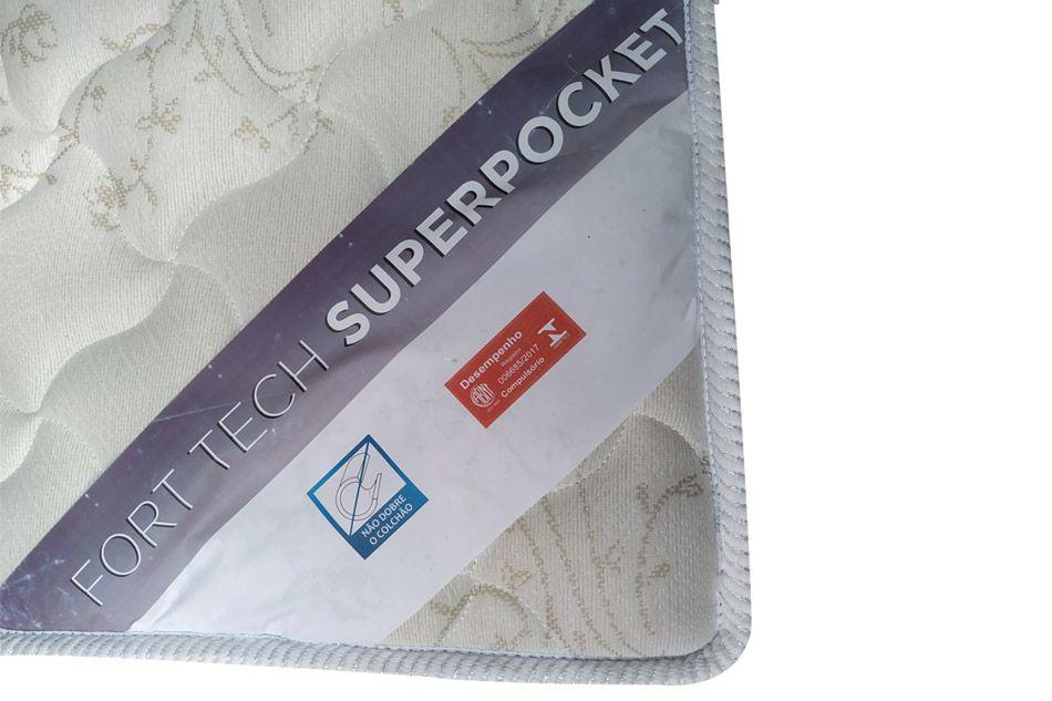 Conjunto Box - Colchão Ortobom Molas Pocket Fort Tech 32cm + Cama Universal Branca
