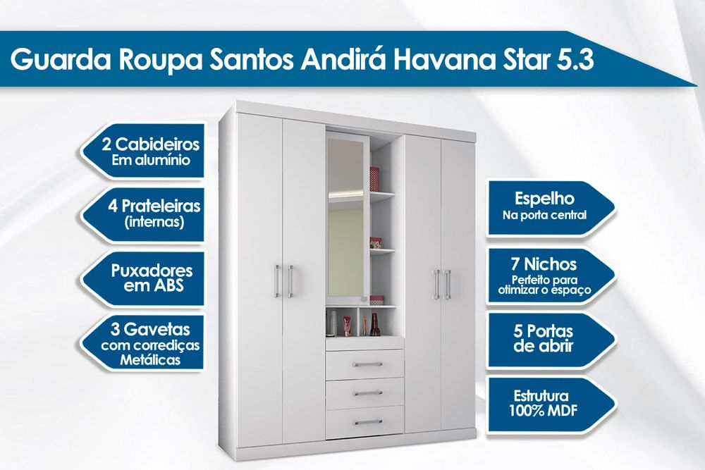 Conjunto de Quarto Santos Andirá Guarda Roupa Havana Star 5.3 + Cômoda Havana Plus Sapateira 1.4