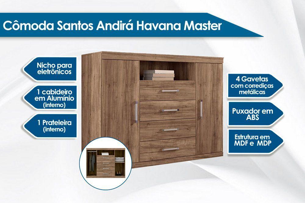 Conjunto de Quarto Santos Andirá Guarda Roupa Master 8.4 + Cômoda Master 2.4