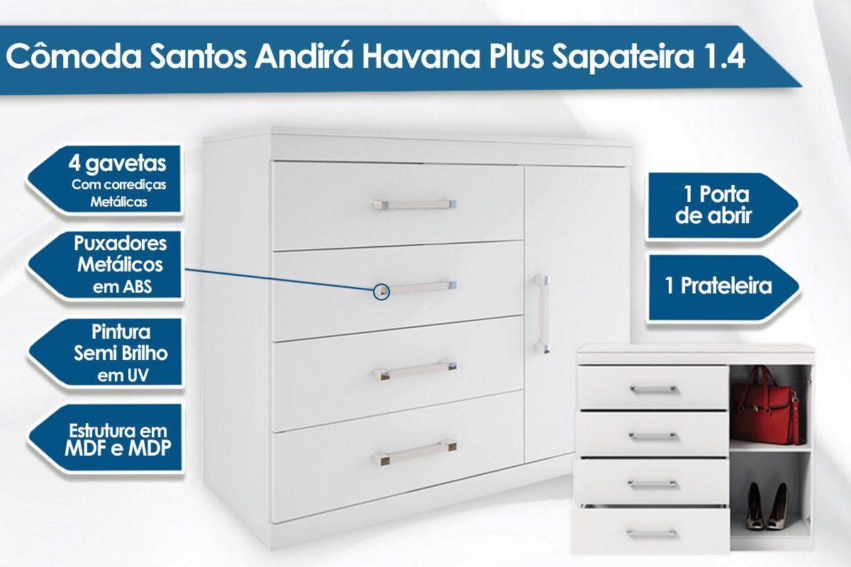 Conjunto de Quarto Santos Andirá Guarda Roupa Havana Plus 6.3 + Cômoda Havana Plus Sapateira 1.4