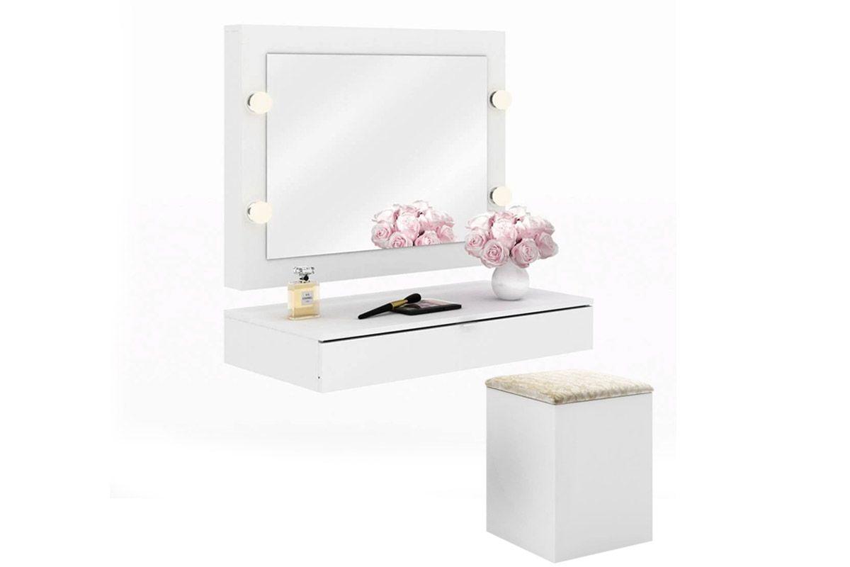 Conjunto Espelho Camarim Tecno Mobili PE-2006 + Gaveta Suspensa PE-2004 + Puff Baú PU-2050