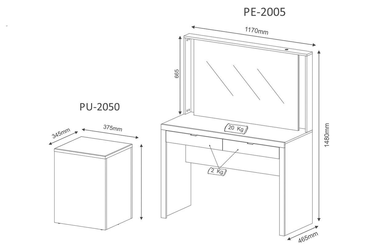 Conjunto Espelho Camarim Tecno Mobili PE-2005 + Puff Baú PU-2050
