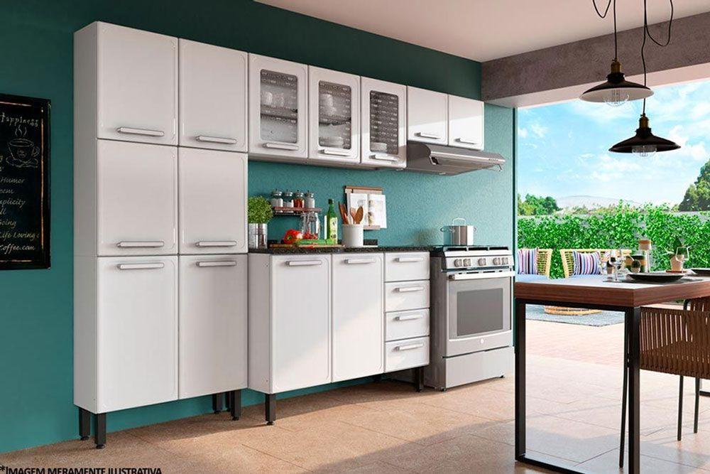 Cozinha Completa Bertolini Gourmet Aço 4 Peças (Paneleiro + 2 Armários + Gabinete) CZ111