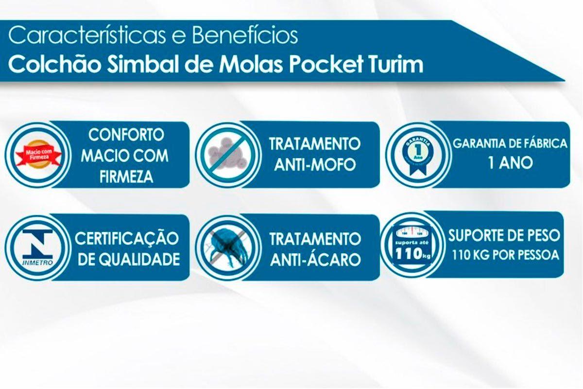 Conjunto Cama Box Baú - Colchão Simbal de Molas Pocket Turim+ Cama Box Baú Nobuck Black