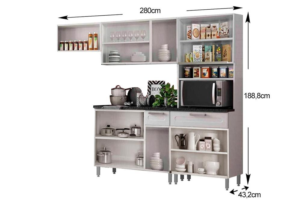 Cozinha Completa Bertolini Múltipla Aço 4 Peças (Paneleiro Torre Quente + 2 Armários + Balcão) CZ113
