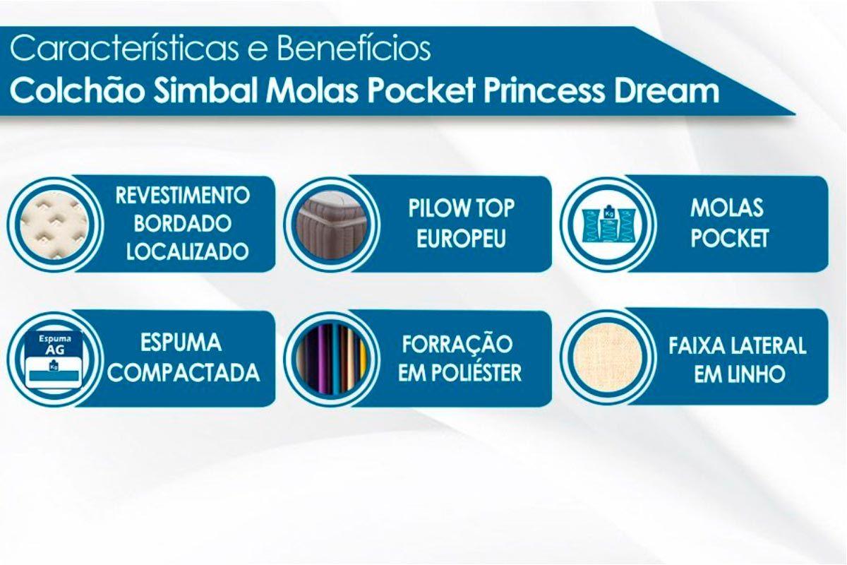 Conjunto Cama Box Baú - Colchão Simbal de Molas Pocket Princess Dream+ Cama Box Baú Nobuck Rosolare Café