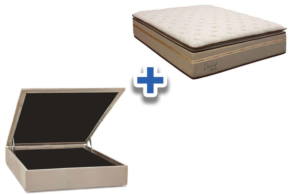 Conjunto Cama Box Baú - Colchão Simbal de Molas Pocket Diamond Stress Less+ Cama Box Baú Nobuck Bege Crema