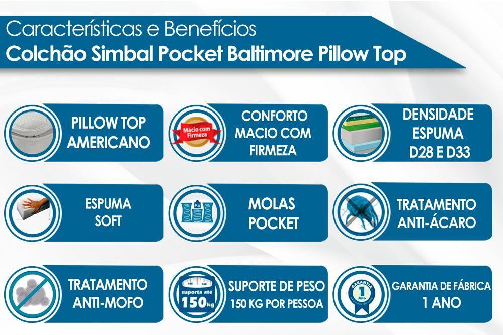 Conjunto Cama Box Baú - Colchão Simbal de Molas Pocket Baltimore + Cama Box Baú Nobuck Rosolare Café