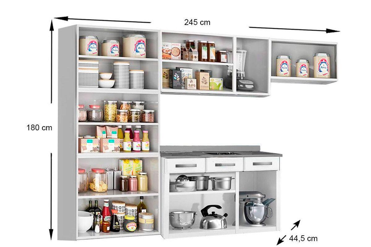 Cozinha Completa Telasul Safira Aço 4 peças (Paneleiro + 2 Armários + Gabinete c/ Pia) CZ116