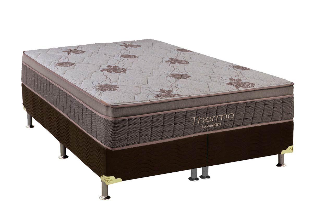 Conjunto Cama Box - Colchão Kappesberg Molas Pocket Thermo c/ Aquecedor (220v)+Cama Box Universal Nobuck Café