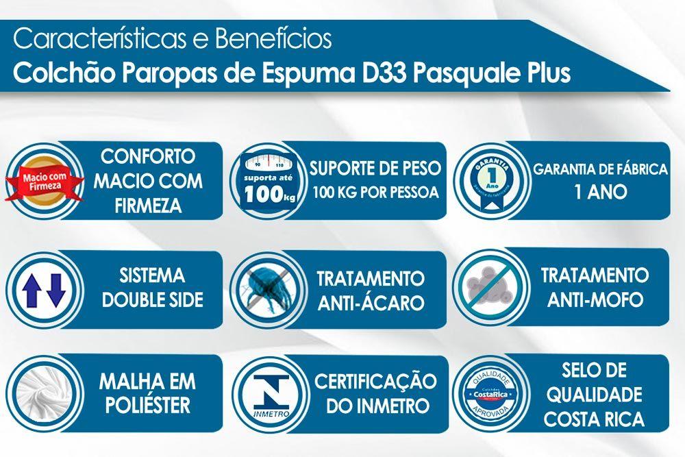 Conjunto Cama Box Universal + Colchão Paropas Espuma D33 Pasquale Plus Black 025