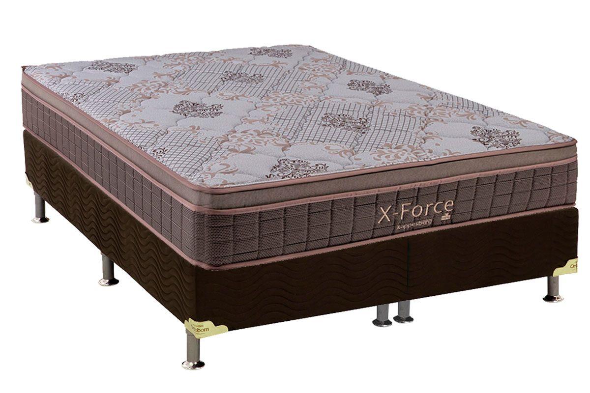 Conjunto Cama Box - Colchão Kappesberg Molas Pocket X-Force Euro Pillow + Cama Box Universal Nobuck Café