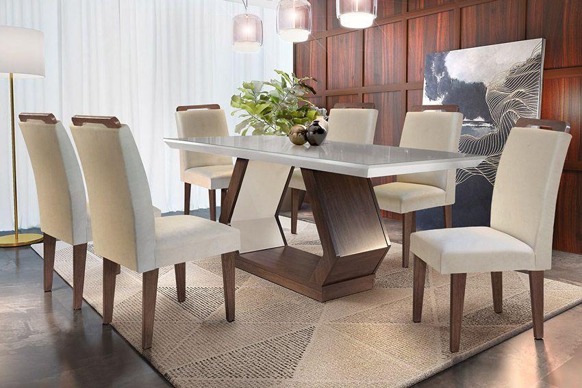 Sala de Jantar Rufato Alvorada Café Tampo c/ Vidro Quina Reta 180cm + 6 Cadeiras Athenas