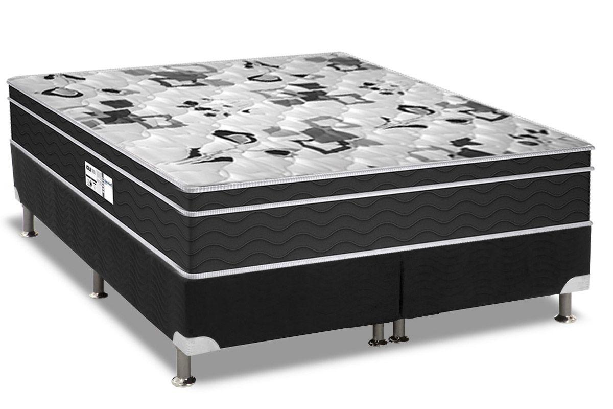 Conjunto Cama Box - Colchão Probel de Molas Prolastic Born Black 30cm + Cama Box Universal CRC Camurça Black