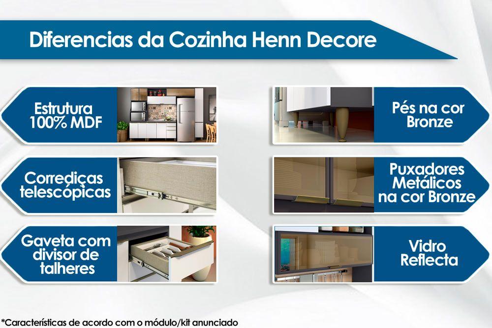 Cozinha Completa Henn Decore c/ 4 Peças (Torre Quente+Aéreo+Paneleiro+Balcão) CZ133