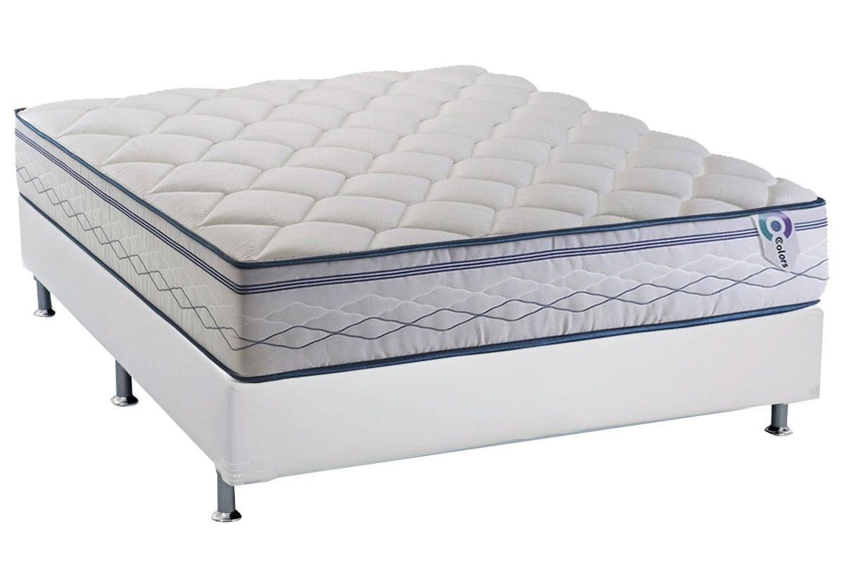 Conjunto Cama Box - Colchão Herval de Molas Pocket Blue Platinum Euro Pillow (C1426) + Cama Box Universal Courino Branco