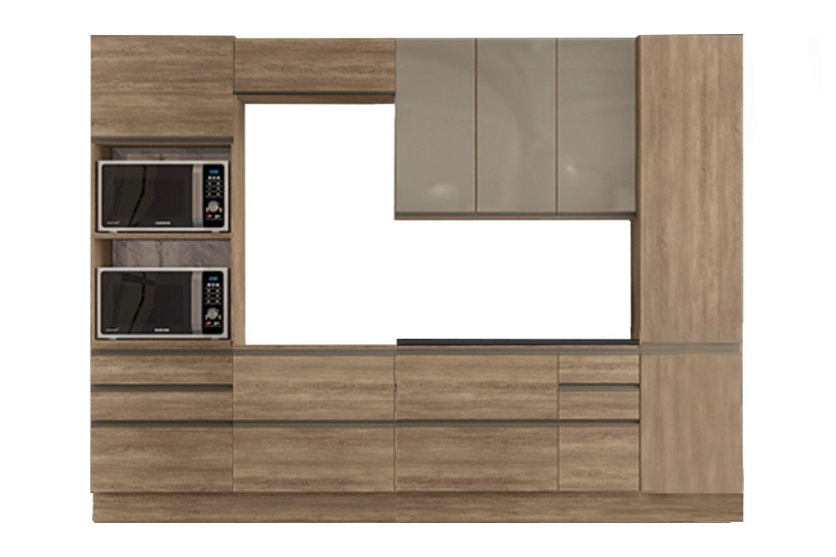 Cozinha Completa Kappesberg Maxxi c/ 7 Peças (Torre Quente+2 Aéreos+Paneleiro+2 Balcões+Tampo p/ Cooktop) CZ137