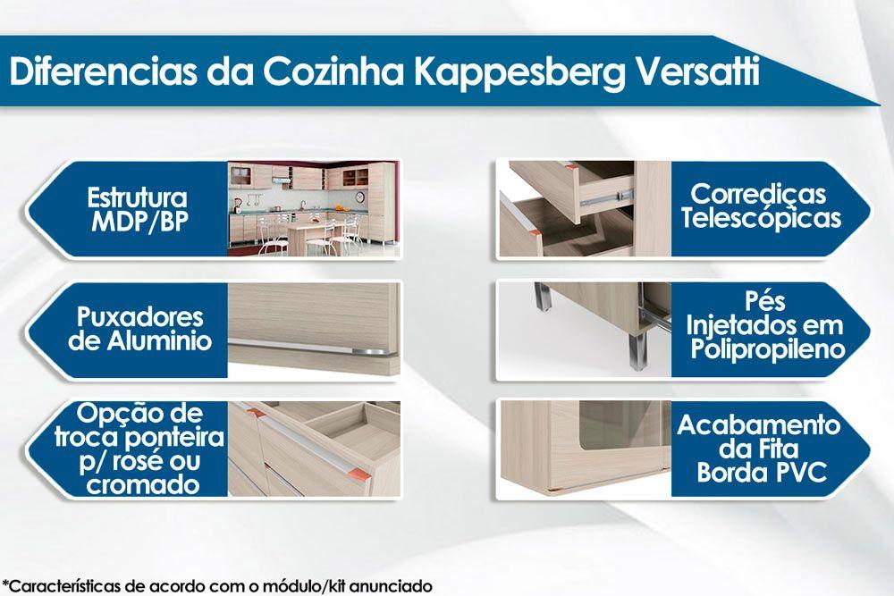 Cozinha Completa Kappesberg Versatti c/ 4 Peças (Paneleiro+2 Aéreos+Balcão) CZ139