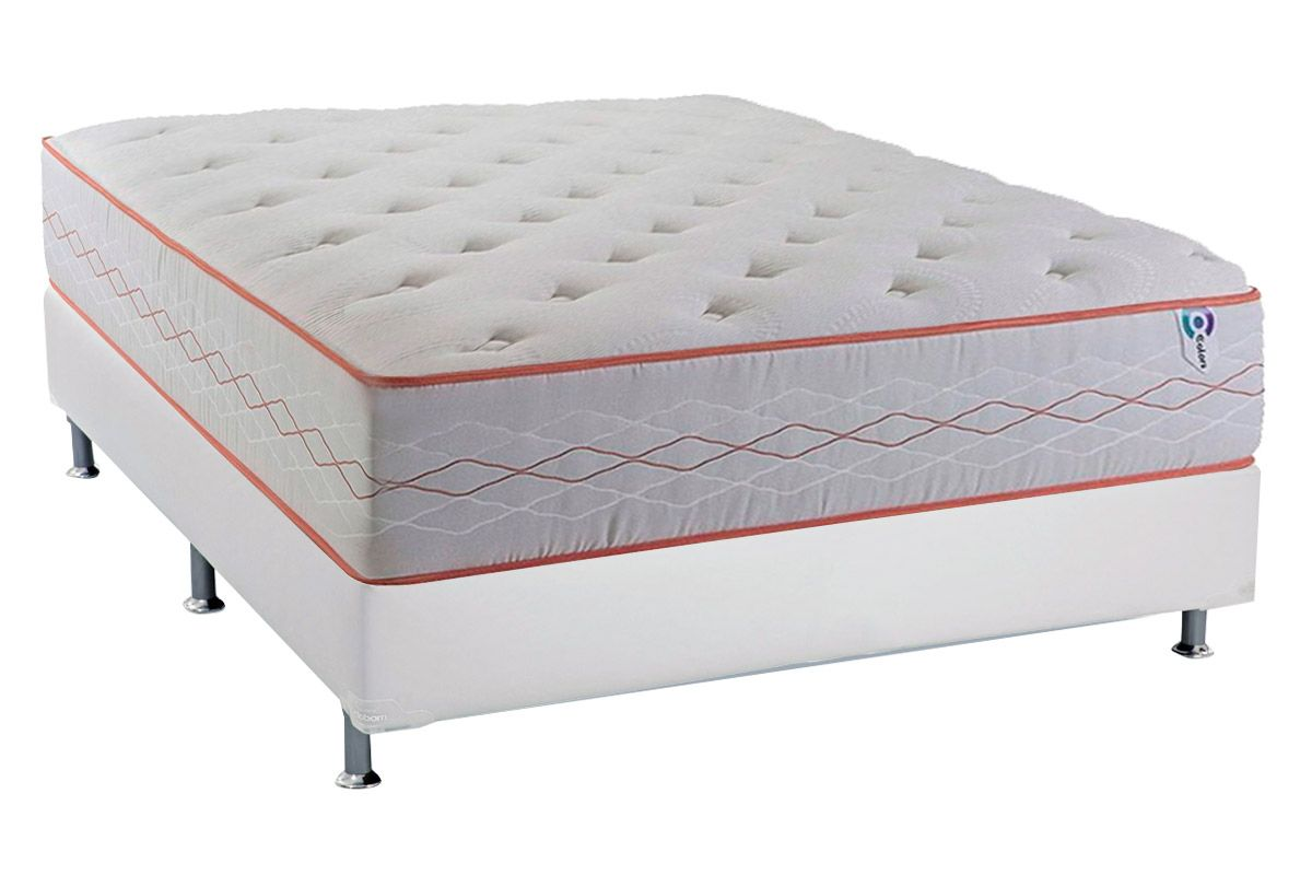 Conjunto Cama Box - Colchão Herval de Molas Maxspring Sensation Firm (C1423) + Cama Box Universal Courino White