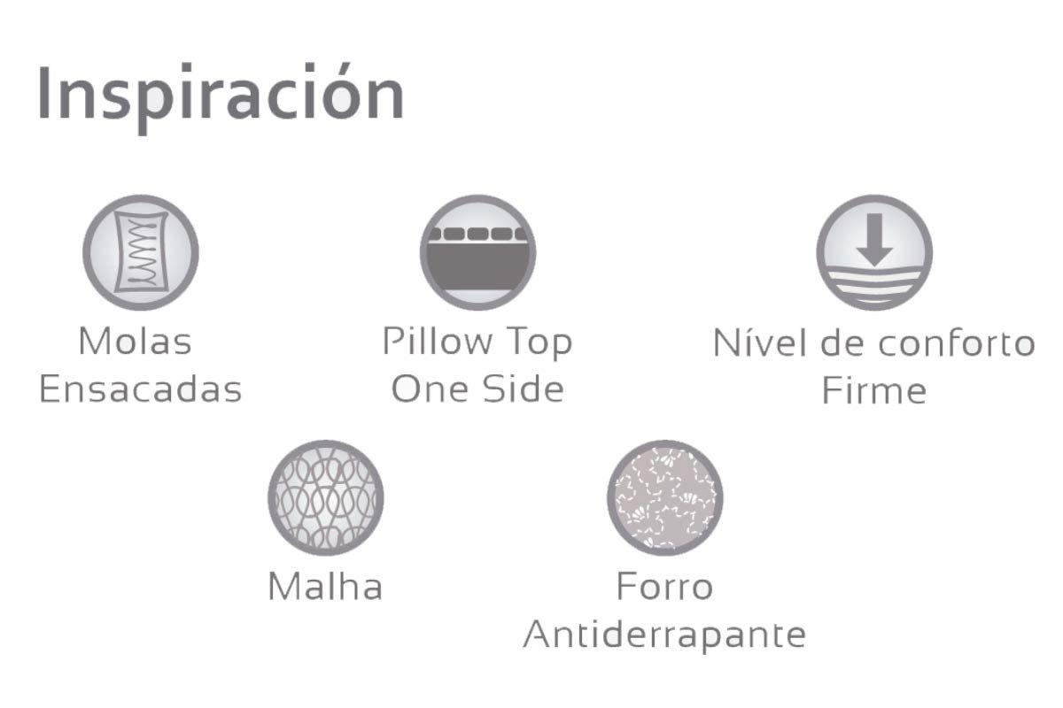 Conjunto Cama box - Colchão Herval de Molas Bonnel Inspiracion + Cama Box Universal Couríno Branco