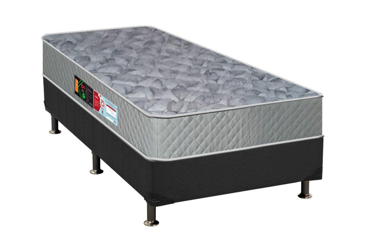 Conjunto Cama Box - Colchão Castor de Espuma D33 Sleep Max 30cm+Cama Box Universal Nobuck Cinza