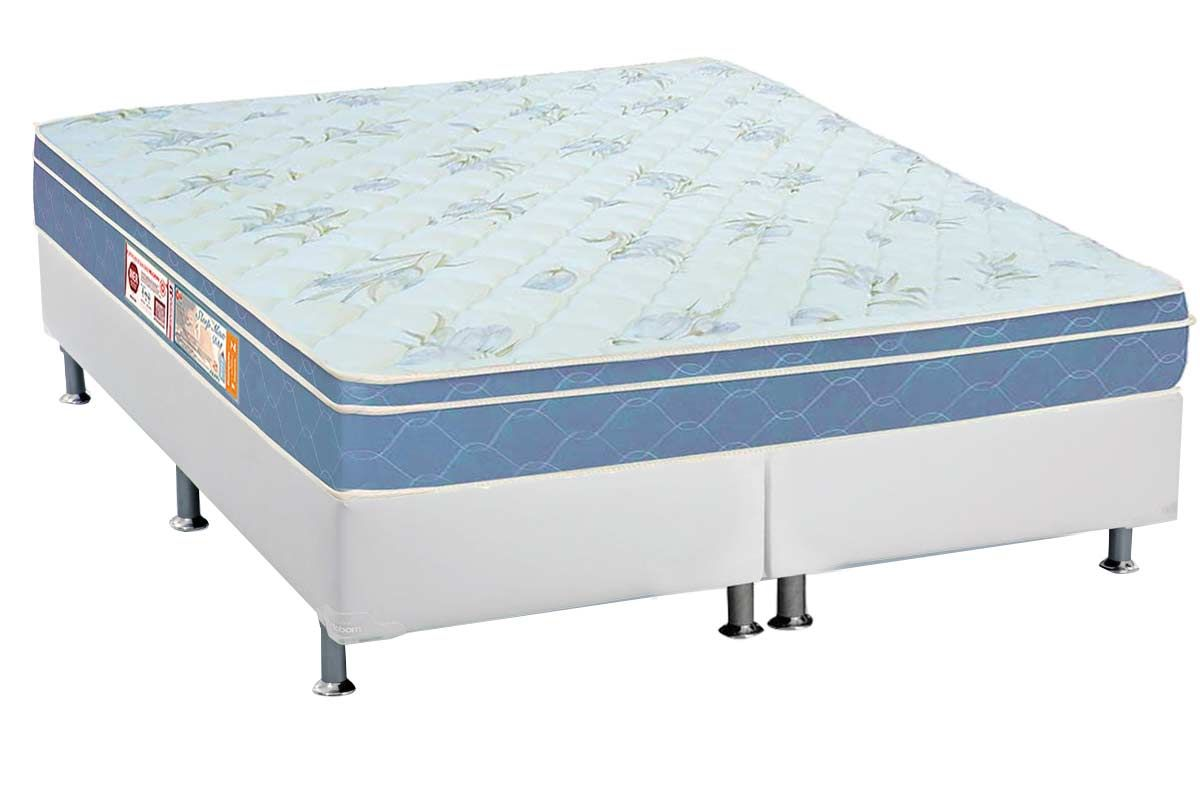 Conjunto Box - Colchão Castor de Espuma D45 Sleep Max 25cm+Cama Box Universal CRC Courino Bianco