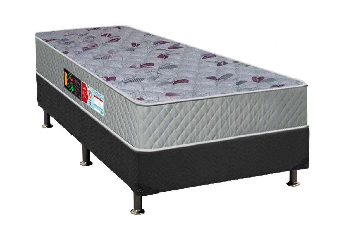Conjunto Cama Box - Colchão Castor de Espuma D40 Sleep Max 30cm+Cama Box Universal Nobuck Cinza