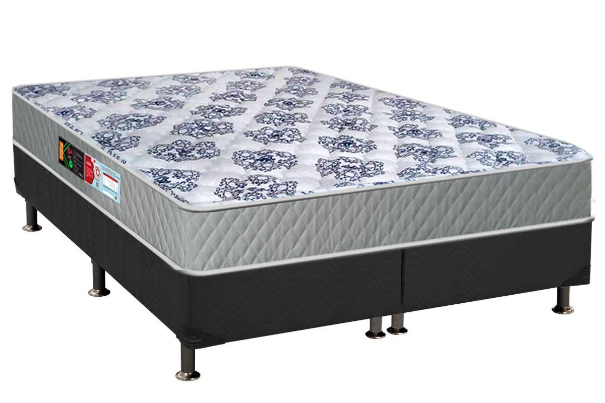 Conjunto Cama Box - Colchão Castor de Espuma D26 Sleep Max+Cama Box Universal Nobuck Cinza