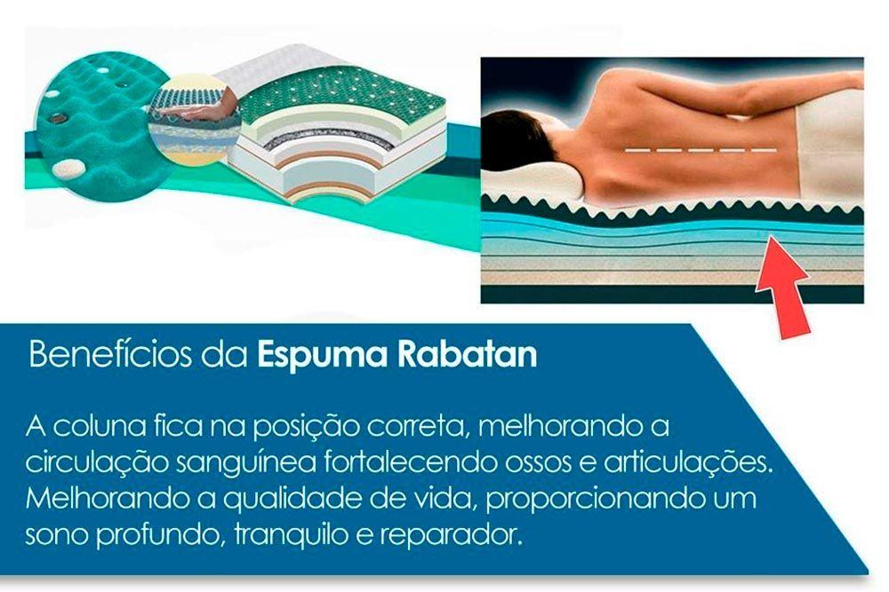 Conjunto Cama Box - Colchão Anjos de Espuma Ortopédica Confort Magnético c/Massagem+Cama Box Base Universal CRC Camurça Clean