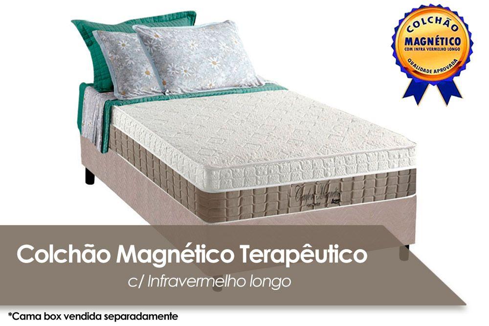 Conjunto Cama Box - Colchão Anjos de Espuma Ortopédica Confort Magnético+Cama Box Universal CRC Camurça Clean