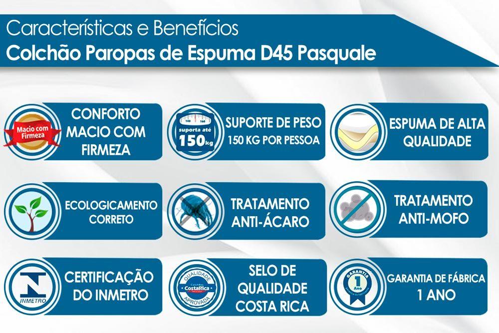 Conjunto Cama Box Universal + Colchão Paropas Espuma D45 Pasquale Clean 025