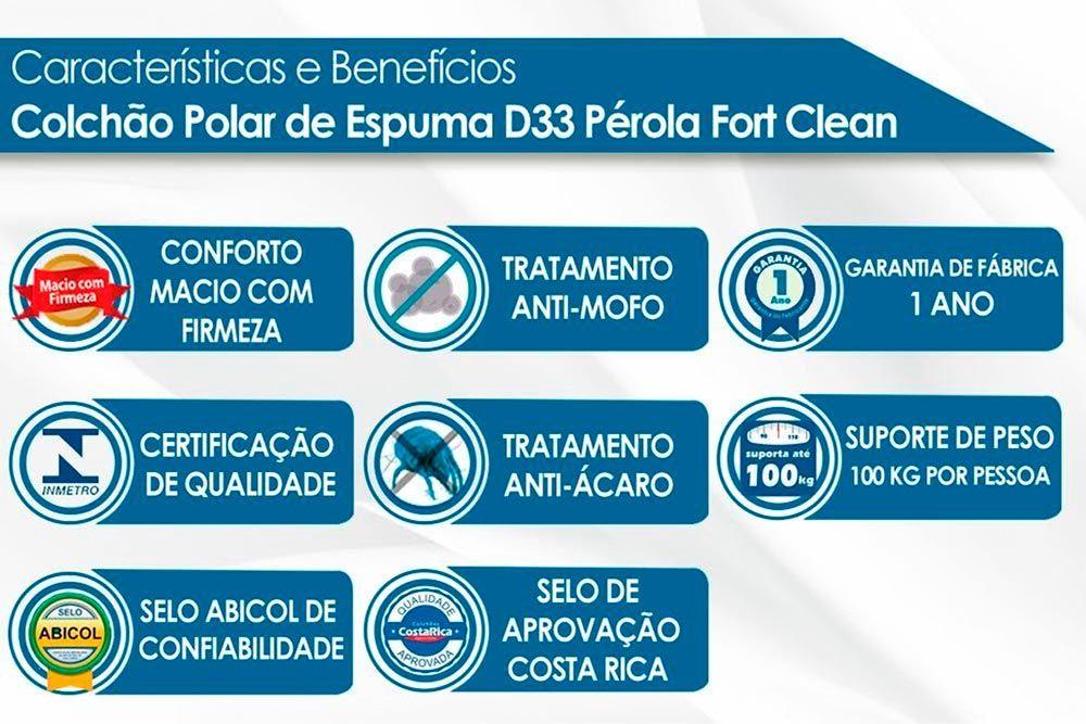 Conjunto - Cama Box + Colchão Polar Espuma D33 Pérola Clean 017