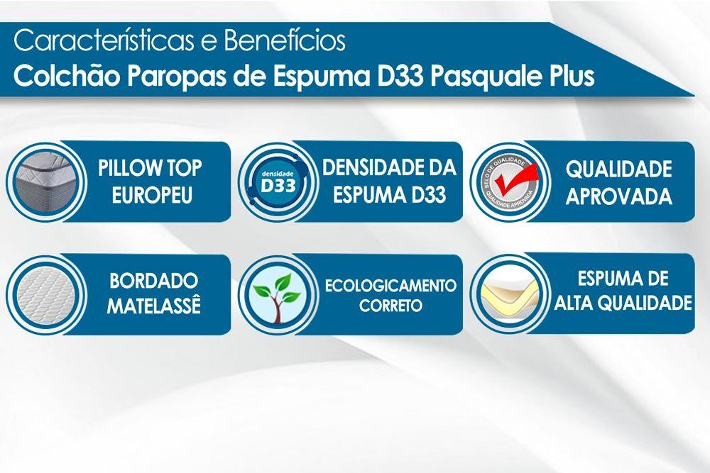Conjunto Cama Box Universal + Colchão Paropas Espuma D33 Pasquale Plus Black 020
