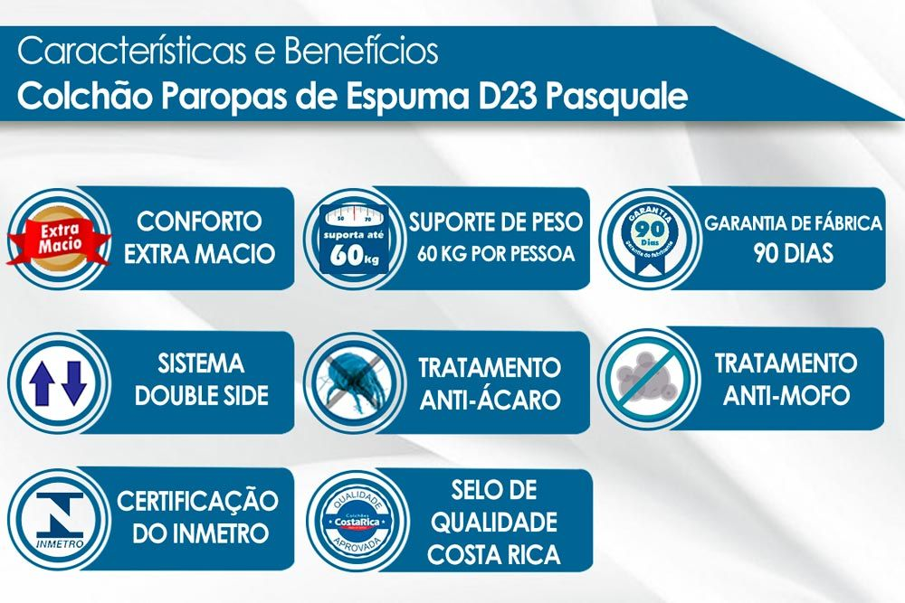 Conjunto Cama Box Universal + Colchão Paropas Espuma D23 Pasquale Clean 020