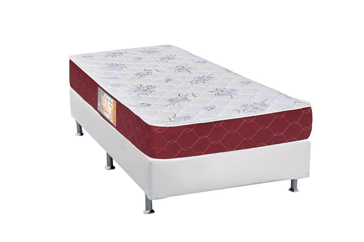 Conjunto Cama Box - Colchão Castor de Espuma D20 Sleep Max 18cm+Cama Box Universal Courino Bianco