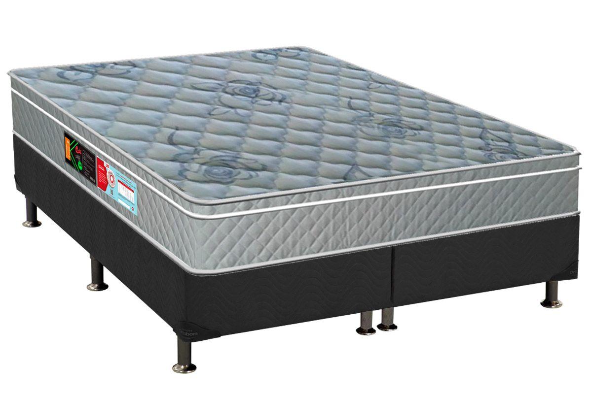 Conjunto Cama Box - Colchão Castor de Espuma D20 Sleep Max 25cm+Cama Box Universal Nobuck Cinza
