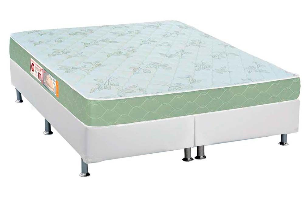 Conjunto Box - Colchão Castor de Espuma D33 Sleep Max 18cm+Cama Box Universal CRC Courino White
