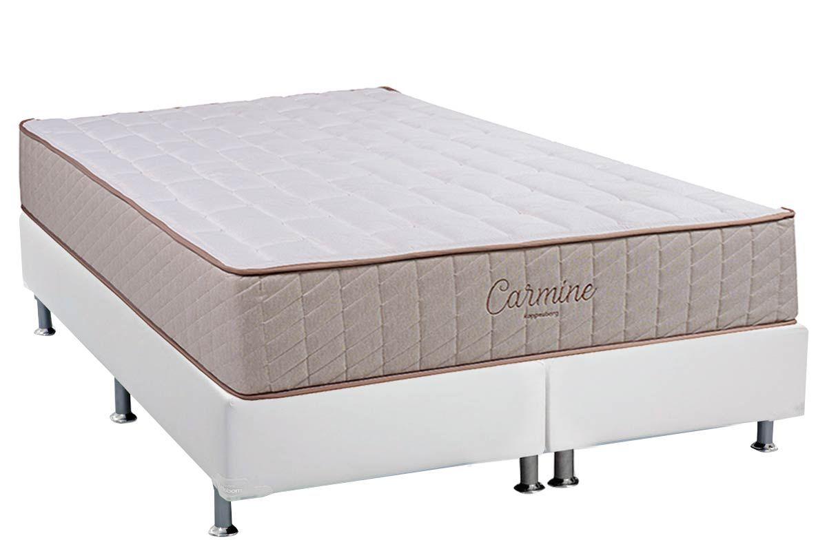 Conjunto Cama Box - Colchão Kappesberg de Espuma D33 Carmine+Cama Box Base Universal Courino Branco
