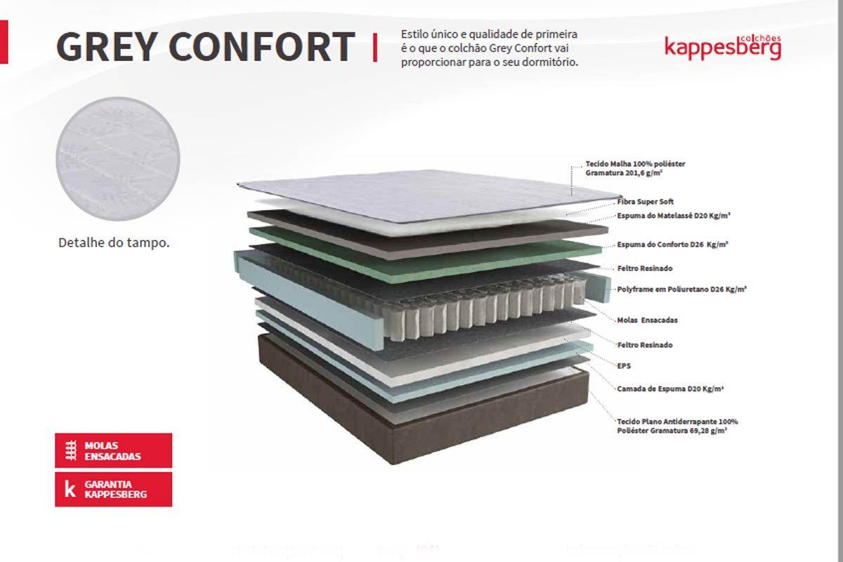 Conjunto Cama Box - Colchão Kappesberg de Molas Pocket Grey Confort+Cama Box Base Universal Nobuck Cinza