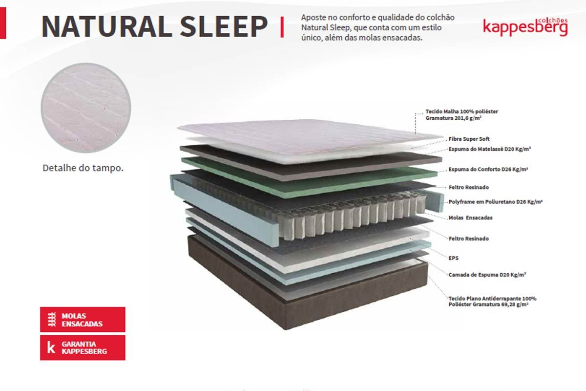 Conjunto Cama Box - Colchão Kappesberg de Molas Pocket Natural Sleep+Cama Box Base Universal Courino Branco