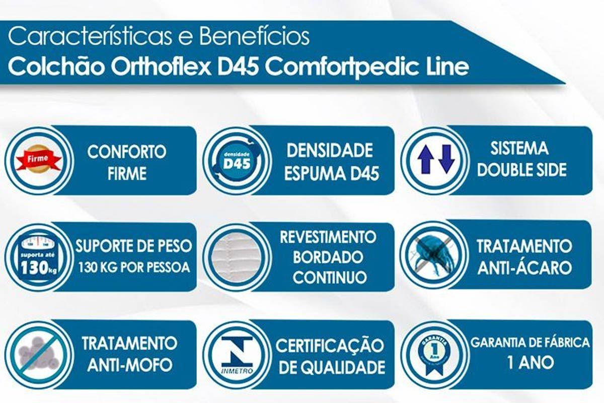 Conjunto Cama Box - Colchão Orthoflex de Espuma D45 Comfortpedic Line  + Cama Box Universal Courino White