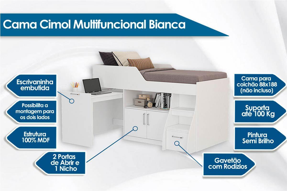 Cama Cimol Multifuncional Bianca II + Colchão
