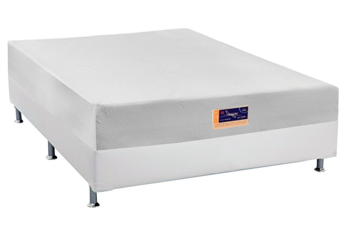 Conjunto Cama Box- Colchão Castor de Espuma Vitagel HR Visco Gel Convencionalc + Cama Box Universal Couriino Branco