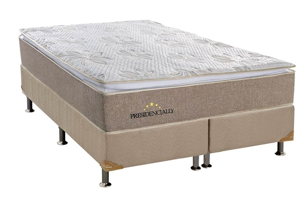 Conjunto Box - Colchão Sealy de Molas Pocket Presidencially Viscoelástico Euro Pillow  + Cama Box Universal Nobuck Bege