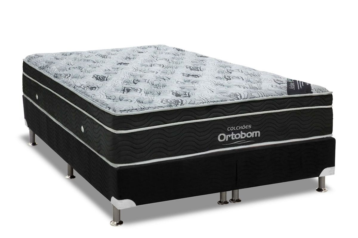 Conjunto Box - Colchão Ortobom de Molas Nanolastic Exclusive Eucalipto Pilow + Cama Box Universal Nobuck Black