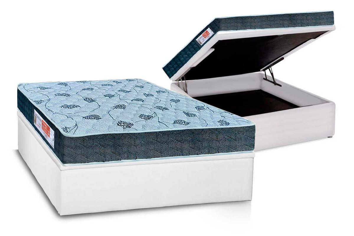 Conjunto Cama Box Baú - Colchão Orthoflex D45 Comfortpedic Line + Cama Box Baú Courino Branco