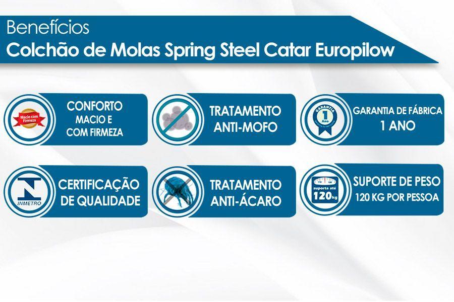 Conjunto 3 em 1 (Cama Box + Cama Auxiliar Courino Bianco Ortobom) + (Colchão Molas Spring Steel Catar Europilow)