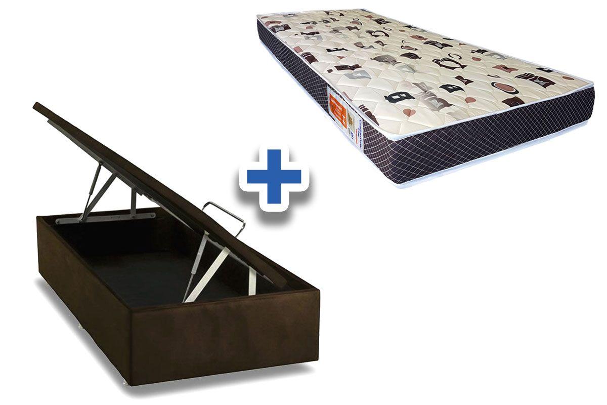 Conjunto Cama Box Baú - Colchão Orthoflex Espuma D20 Comfortpedic Line + Cama Box Baú Café